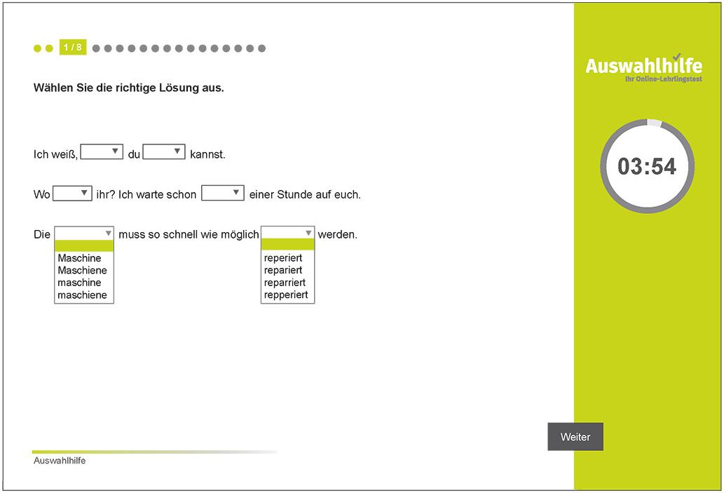 Testmodul Deutsch Kurzversion Auswahlhilfe Lehrlingstest i-kiu ibw