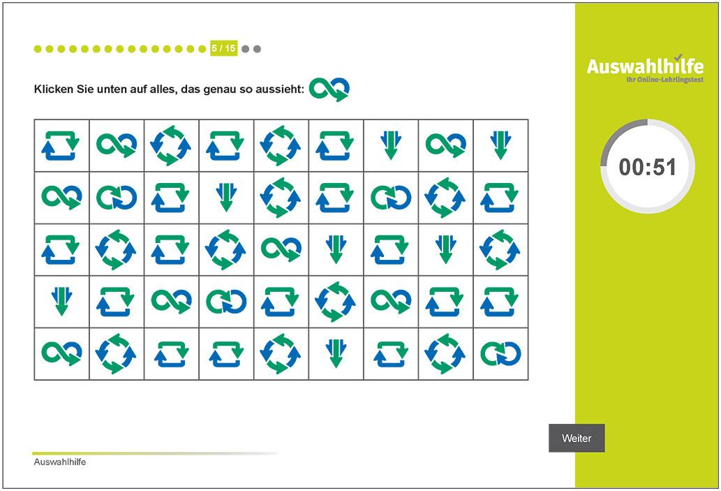 Testmodul Konzentration und Beobachtung Auswahlhilfe Lehrlingstest i-kiu ibw