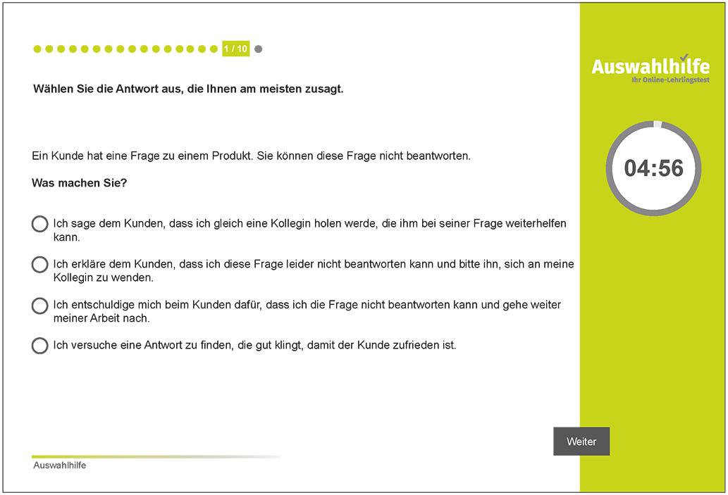 Testmodul Kundenorientierung Auswahlhilfe Lehrlingstest i-kiu ibw