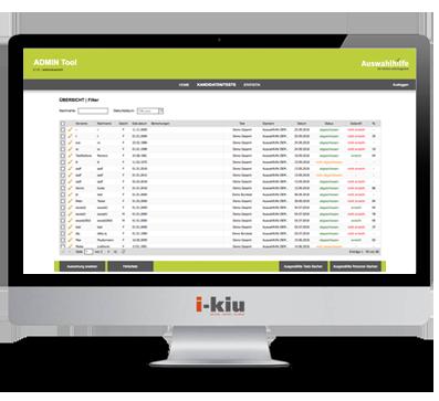 Testsystem Kandidaten Testübersicht Auswahlhilfe Adminbereich